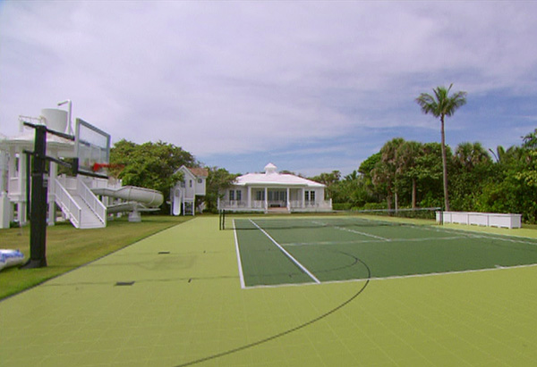 The tennis court and basketball hoops