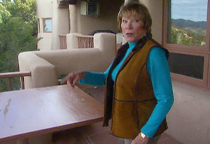 Shirley MacLaine on the deck of her home