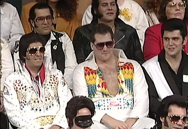 Audience filled with Elvis impersonators