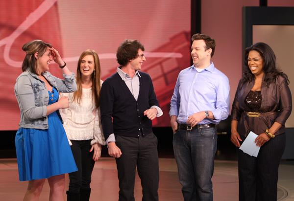 Jackie, Kristen Wiig, Andy Sandberg, Jason Sudeikis and Oprah