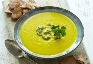 Hummus Soup with Cilantro Pesto and Garlicky Pita Chips