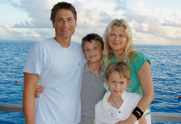 Rob Lowe, his wife Sheryl and their two kids Johnowen and Matthew