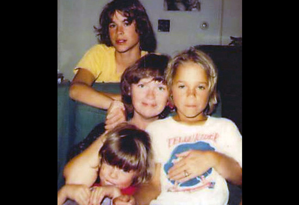 Rob, his mother, Barbara, and siblings, Chad and Micah, in 1978