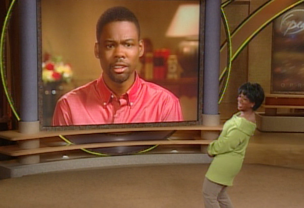 Oprah and Chris Rock via satellite