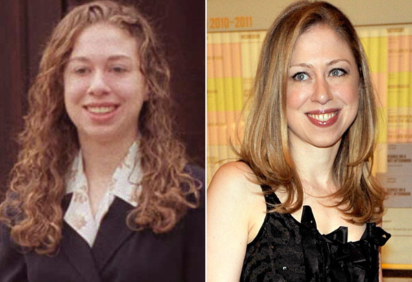Chelsea Clinton in the 1990s and 2011