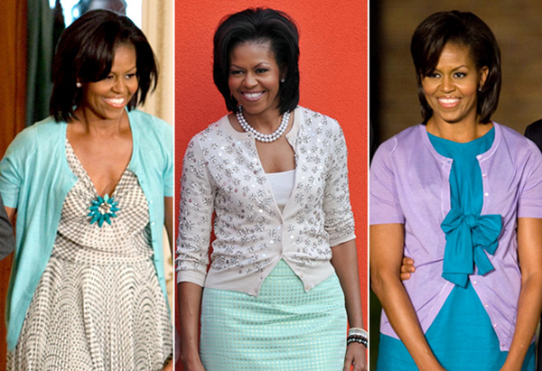 Michelle Obama's style - casual cardigans