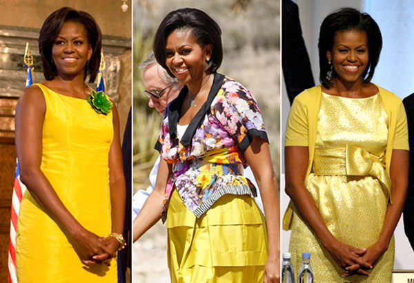 Michelle Obama's style - lots of yellow