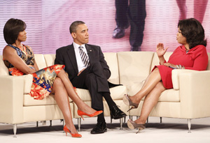 President Barack Obama, first lady Michelle Obama and Oprah