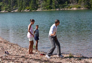 President Obama with his daughters, Sasha and Malia