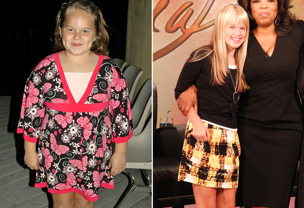 Michaela before and after losing 50 pounds