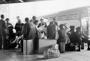 Freedom Riders waiting peacefully at bus station