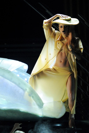 Lady Gaga emerges from an egg