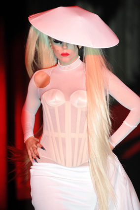 Lady Gaga at Thierry Mugler's Paris Fashion Week show