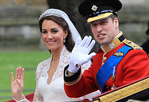 Prince William and Catherine on their wedding day