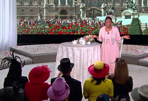 Oprah and the audience are dressed for the royal wedding