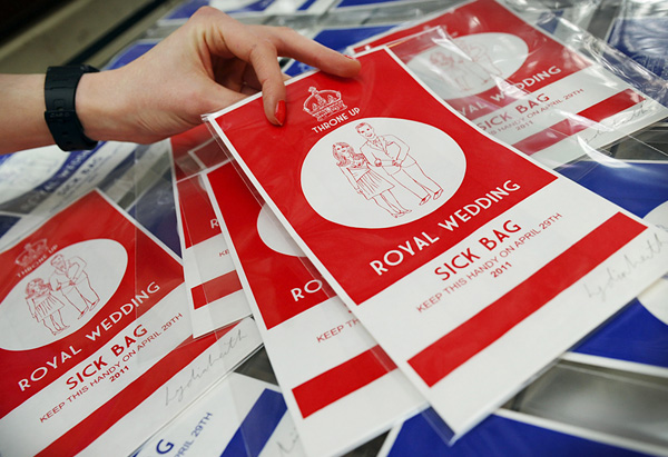 Royal wedding commemorative sick bags