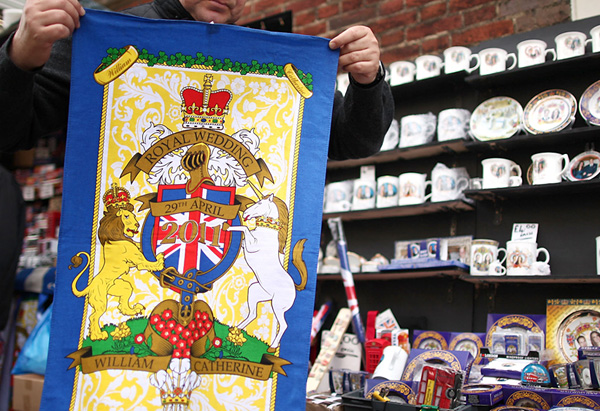 A royal wedding commemorative tea towel
