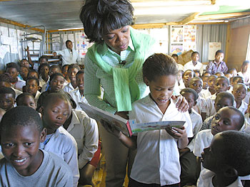 The Chris Hani Independent School provides education to children living in camps.