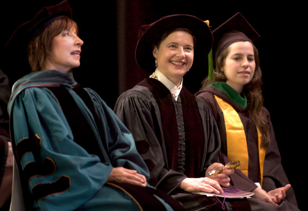 Isabella Rossellini accepted an honorary degree at Georgia's Savannah College of Art and Design.