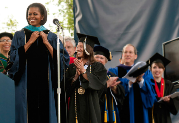 First lady Michelle Obama speaks at George Washington University's graduation.