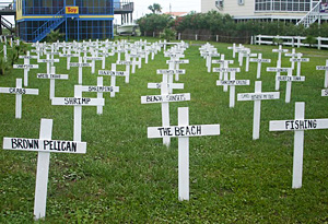 A graveyard honoring the wildlife harmed in BP's Gulf of Mexico oil spill.