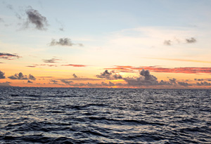 The sunrise from aboard the Plastiki.