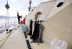 On deck aboard the Plastiki