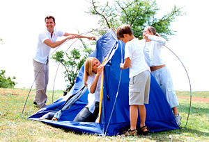 Rent or borrow camping gear your first time out.