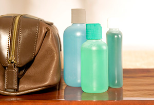 Get refillable travel-size toiletry bottles.