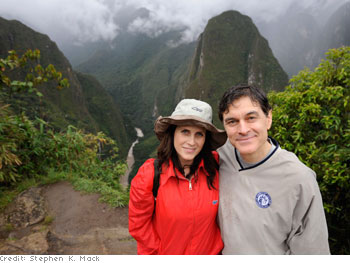 Lisa and Dr. Oz overlook the cloud forest in the Peruvian Andes.