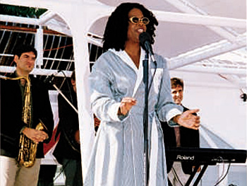 Oprah (wearing one of the bathrobes she gave everyone)