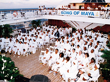 Easter service on the deck with everyone wearing white