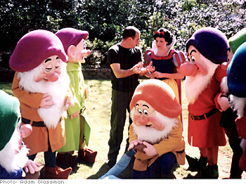 Photographer Fiorenzo Borghi with Snow White and the Seven Dwarves