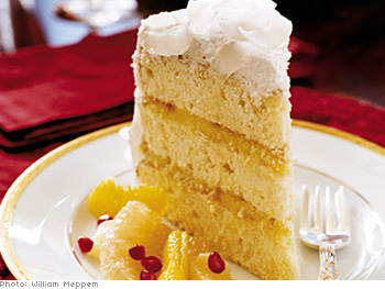 Traditional three-layer coconut cake