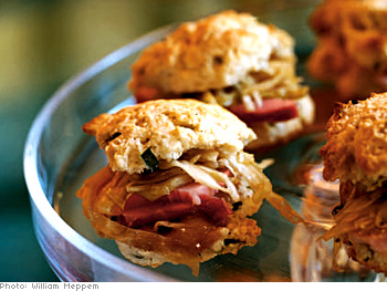Drop biscuits with ham and cabbage slaw