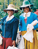 Oprah and Gayle in colonial garb