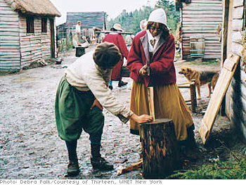 Gayle chops wood