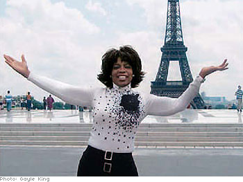 Oprah in front of the Eiffel Tower, Paris