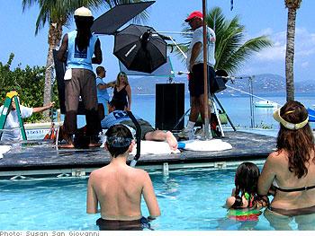 The crew, poolside
