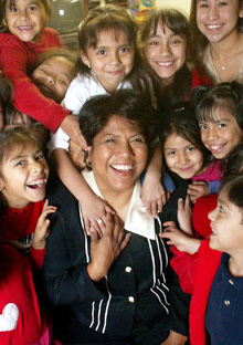 Rose Espinoza with her students