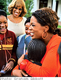 Oprah hugging girl