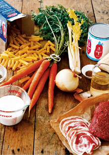 Bolognese sauce in ingredients