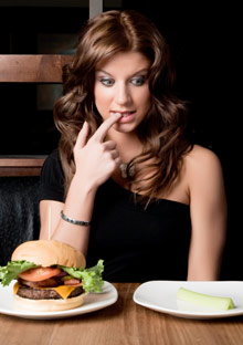 Woman choosing what to eat