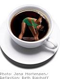 Image of woman exercising in a cup of coffee