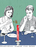 Couple sitting down at a candle-lit table with wine