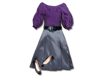 Purple top, full skirt, patent leather flats, and belt