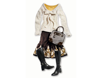 Full skirt, chunky knit, patent leather and tweed bag, marigold jersey, and riding boots