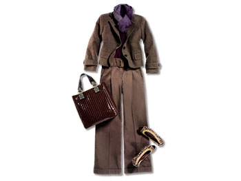 Wide-legged pants, tweed cropped blazer, patent leather and tweed flats, purple tee, and patent leather bag