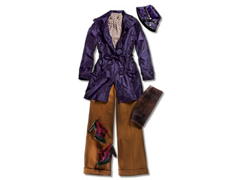 Purple anorak, cloche hat, jersey top, wide-legged pants, oxfords, and clutch