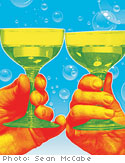 Goblets toasting
